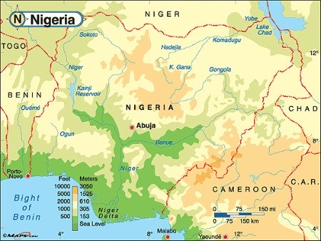 Physical maps of NigeriaEverything About Nigeria maps Facts